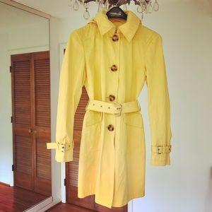 Michael Kors yellow hooded trench coat